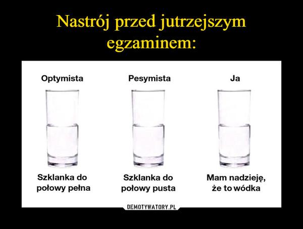 –  optymistaszklanka do połowy pełna pesymistaszklanka do połowy pusta jamam nadzieję, że to wódka