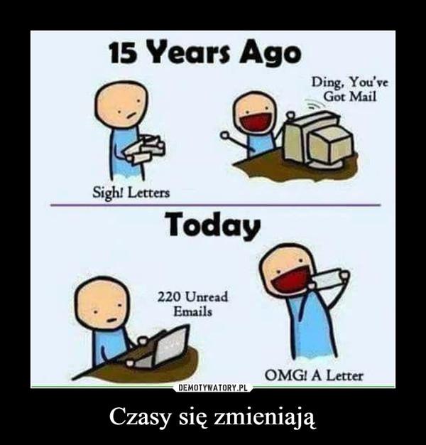 Czasy się zmieniają –  15 Years AgoDing, You'veGot MailSigh! Letters220 UnreadEmailsOMGl A Letter