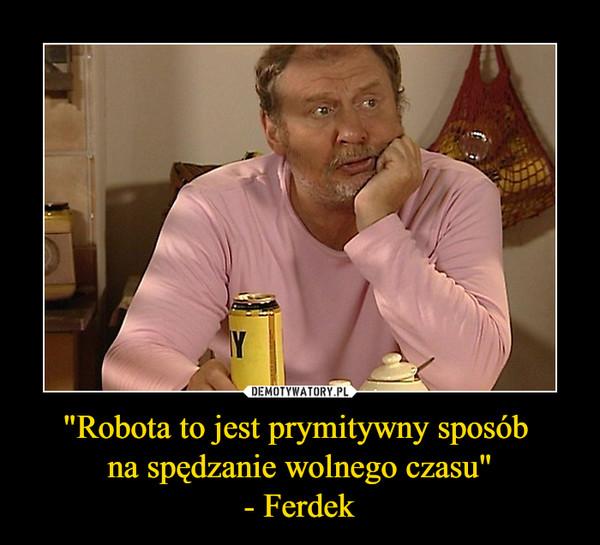 """""""Robota to jest prymitywny sposób na spędzanie wolnego czasu""""- Ferdek –"""