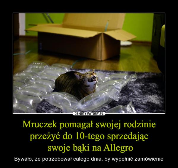 Mruczek pomagał swojej rodzinie przeżyć do 10-tego sprzedając swoje bąki na Allegro – Bywało, że potrzebował całego dnia, by wypełnić zamówienie