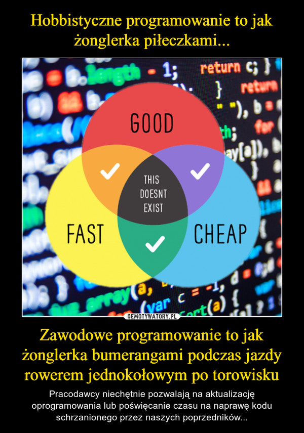 Zawodowe programowanie to jak żonglerka bumerangami podczas jazdy rowerem jednokołowym po torowisku – Pracodawcy niechętnie pozwalają na aktualizację oprogramowania lub poświęcanie czasu na naprawę kodu schrzanionego przez naszych poprzedników...