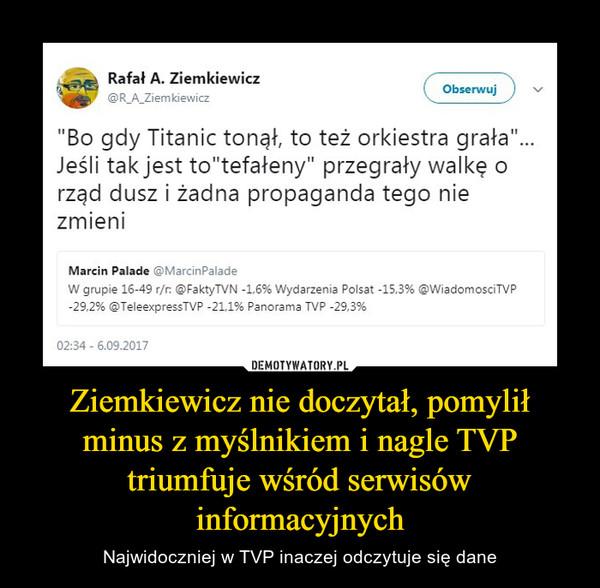 """Ziemkiewicz nie doczytał, pomylił minus z myślnikiem i nagle TVP triumfuje wśród serwisów informacyjnych – Najwidoczniej w TVP inaczej odczytuje się dane """"Bo gdy Titanic tonął, to też orkiestra grała""""... Jeśli tak jest to""""tefałeny"""" przegrały walkę o rząd dusz i żadna propaganda tego nie zmieniW grupie 16-49 r/r: @FaktyTVN -1,6% Wydarzenia Polsat -15,3% @WiadomosciTVP -29,2% @TeleexpressTVP -21,1% Panorama TVP -29,3%"""