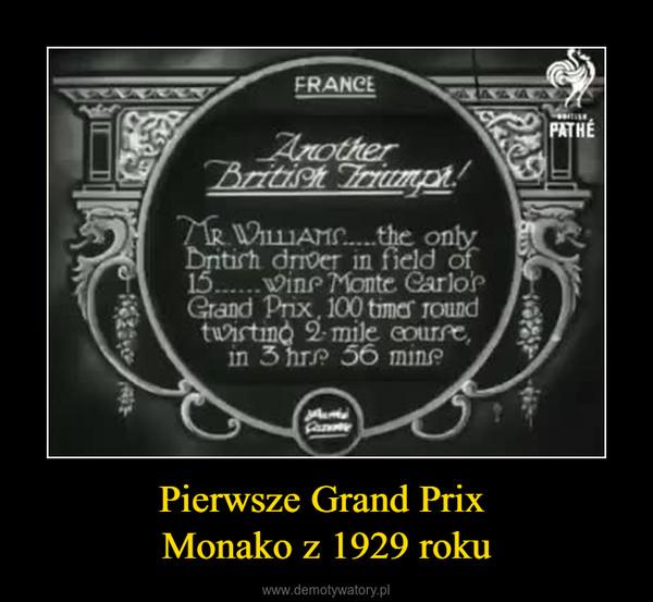 Pierwsze Grand Prix Monako z 1929 roku –