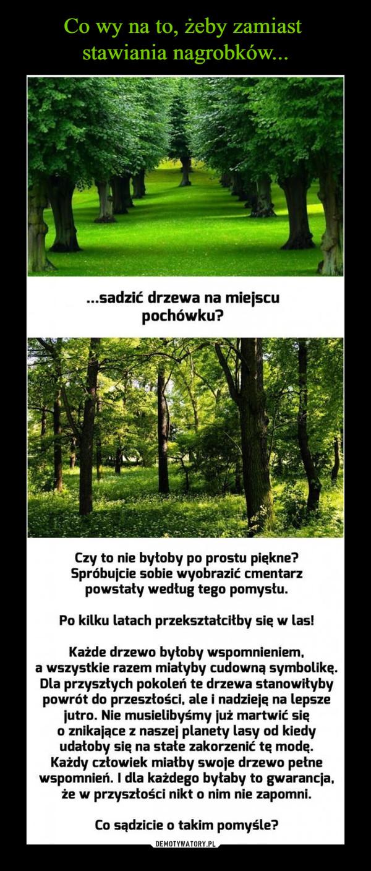 –  ..sadzić drzewa na miejscu pochówku? Czy to nie byłoby po prostu piękne? Spróbujcie sobie wyobrazić cmentarz powstały według tego pomysłu. Po kilku latach przekształciłby się w las! Każde drzewo byłoby wspomnieniem, a wszystkie razem miałyby cudowną symbolikę. Dla przyszłych pokoleń te drzewa stanowiłyby powrót do przeszłości, ale i nadzieją na lepsze jutro. Nie musielibyśmy już martwić się o znikające z naszej planety lasy od kiedy udałoby się na stałe zakorzenić tę modę. Każdy człowiek miałby swoje drzewo pełne wspomnień. I dla każdego byłaby to gwarancja, że w przyszłości nikt o nim nie zapomni. Co sądzicie o takim pomyśle?