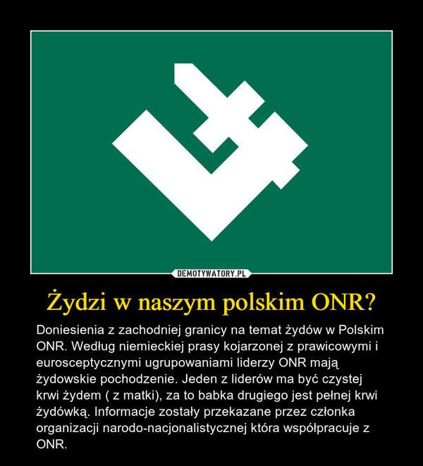 Żydzi w naszym polskim ONR? – Doniesienia z zachodniej granicy na temat żydów w Polskim ONR. Według niemieckiej prasy kojarzonej z prawicowymi i eurosceptycznymi ugrupowaniami liderzy ONR mają żydowskie pochodzenie. Jeden z liderów ma być czystej krwi żydem ( z matki), za to babka drugiego jest pełnej krwi żydówką. Informacje zostały przekazane przez członka organizacji narodo-nacjonalistycznej która współpracuje z ONR.