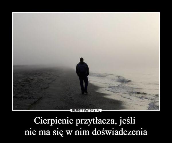 Cierpienie przytłacza, jeśli nie ma się w nim doświadczenia –