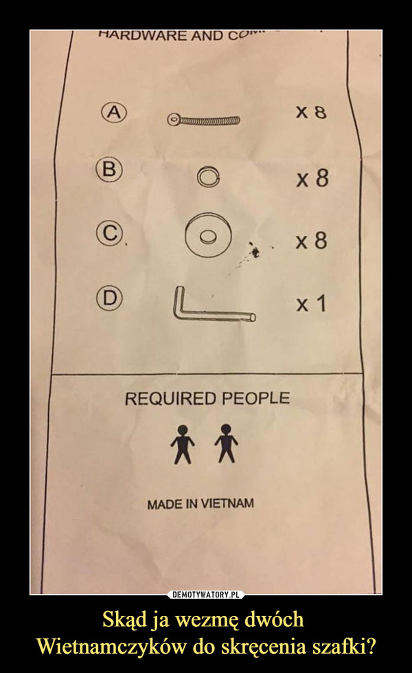 Skąd ja wezmę dwóch Wietnamczyków do skręcenia szafki? –