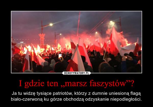 """I gdzie ten """"marsz faszystów""""? – Ja tu widzę tysiące patriotów, którzy z dumnie uniesioną flagą biało-czerwoną ku górze obchodzą odzyskanie niepodległości."""