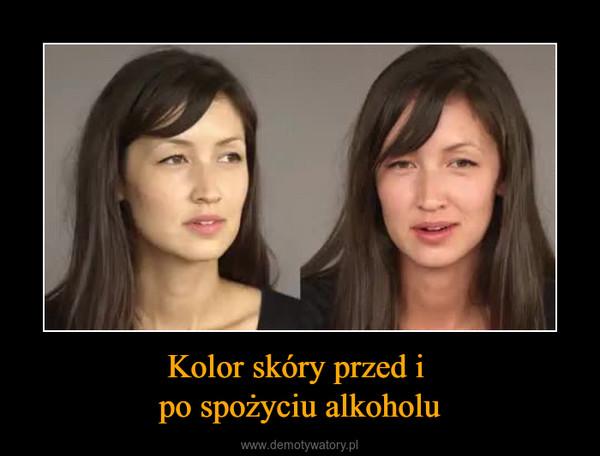 Kolor skóry przed i po spożyciu alkoholu –