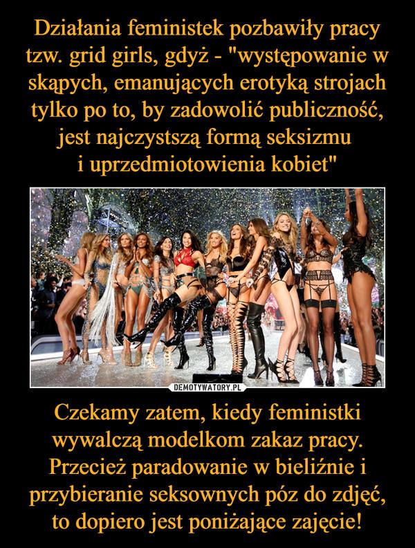 Czekamy zatem, kiedy feministki wywalczą modelkom zakaz pracy. Przecież paradowanie w bieliźnie i przybieranie seksownych póz do zdjęć, to dopiero jest poniżające zajęcie! –