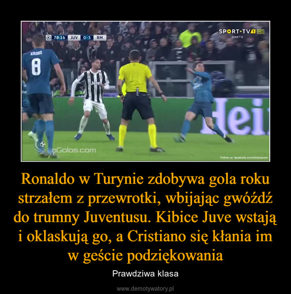 Ronaldo w Turynie zdobywa gola roku strzałem z przewrotki, wbijając gwóźdź do trumny Juventusu. Kibice Juve wstają i oklaskują go, a Cristiano się kłania im w geście podziękowania – Prawdziwa klasa