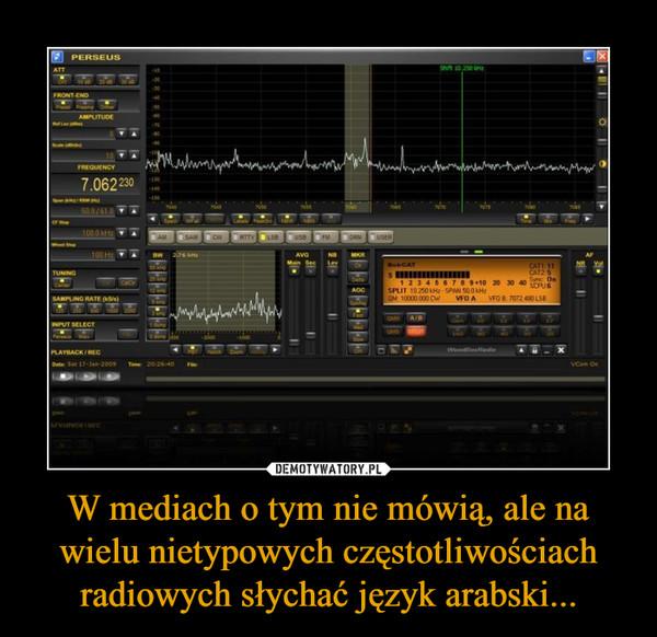 W mediach o tym nie mówią, ale na wielu nietypowych częstotliwościach radiowych słychać język arabski... –