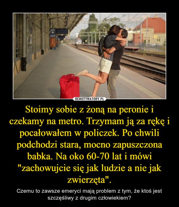 """Stoimy sobie z żoną na peronie i czekamy na metro. Trzymam ją za rękę i pocałowałem w policzek. Po chwili podchodzi stara, mocno zapuszczona babka. Na oko 60-70 lat i mówi """"zachowujcie się jak ludzie a nie jak zwierzęta"""". – Czemu to zawsze emeryci mają problem z tym, że ktoś jest szczęśliwy z drugim człowiekiem?"""