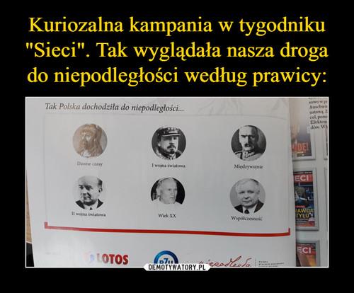 """Kuriozalna kampania w tygodniku """"Sieci"""". Tak wyglądała nasza droga do niepodległości według prawicy:"""