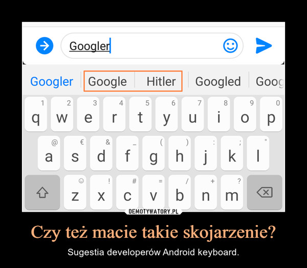 Czy też macie takie skojarzenie? – Sugestia developerów Android keyboard.