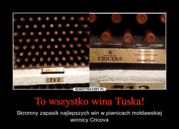 To wszystko wina Tuska! – Skromny zapasik najlepszych win w piwnicach mołdawskiej winnicy Cricova