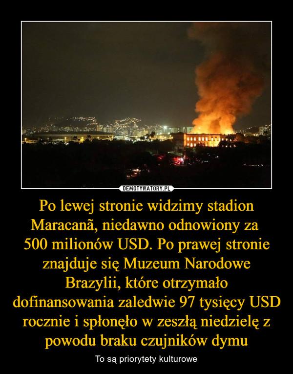 Po lewej stronie widzimy stadion Maracanã, niedawno odnowiony za 500 milionów USD. Po prawej stronie znajduje się Muzeum Narodowe Brazylii, które otrzymało dofinansowania zaledwie 97 tysięcy USD rocznie i spłonęło w zeszłą niedzielę z powodu braku czujników dymu – To są priorytety kulturowe