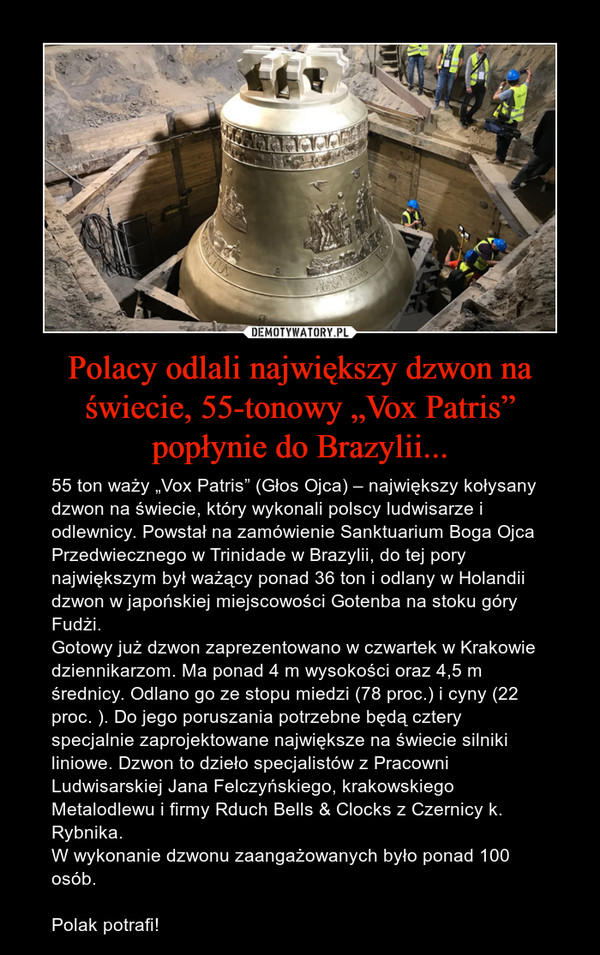 """Polacy odlali największy dzwon na świecie, 55-tonowy """"Vox Patris"""" popłynie do Brazylii... – 55 ton waży """"Vox Patris"""" (Głos Ojca) – największy kołysany dzwon na świecie, który wykonali polscy ludwisarze i odlewnicy. Powstał na zamówienie Sanktuarium Boga Ojca Przedwiecznego w Trinidade w Brazylii, do tej pory największym był ważący ponad 36 ton i odlany w Holandii dzwon w japońskiej miejscowości Gotenba na stoku góry Fudżi.Gotowy już dzwon zaprezentowano w czwartek w Krakowie dziennikarzom. Ma ponad 4 m wysokości oraz 4,5 m średnicy. Odlano go ze stopu miedzi (78 proc.) i cyny (22 proc. ). Do jego poruszania potrzebne będą cztery specjalnie zaprojektowane największe na świecie silniki liniowe. Dzwon to dzieło specjalistów z Pracowni Ludwisarskiej Jana Felczyńskiego, krakowskiego Metalodlewu i firmy Rduch Bells & Clocks z Czernicy k. Rybnika.W wykonanie dzwonu zaangażowanych było ponad 100 osób. Polak potrafi!"""