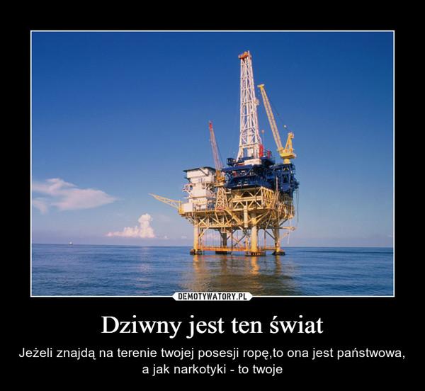 Dziwny jest ten świat – Jeżeli znajdą na terenie twojej posesji ropę,to ona jest państwowa, a jak narkotyki - to twoje