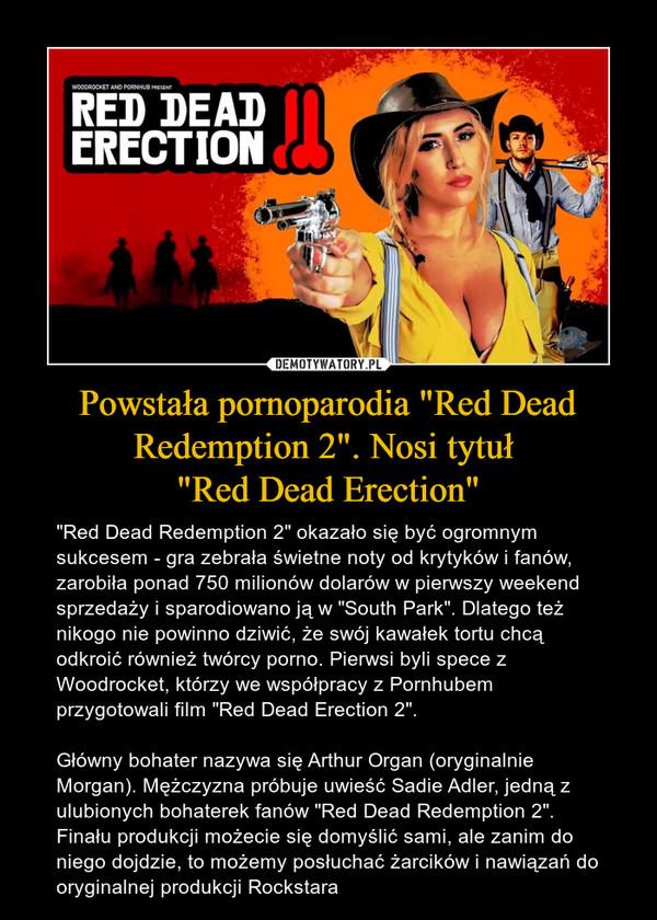 """Powstała pornoparodia """"Red Dead Redemption 2"""". Nosi tytuł """"Red Dead Erection"""" – """"Red Dead Redemption 2"""" okazało się być ogromnym sukcesem - gra zebrała świetne noty od krytyków i fanów, zarobiła ponad 750 milionów dolarów w pierwszy weekend sprzedaży i sparodiowano ją w """"South Park"""". Dlatego też nikogo nie powinno dziwić, że swój kawałek tortu chcą odkroić również twórcy porno. Pierwsi byli spece z Woodrocket, którzy we współpracy z Pornhubem przygotowali film """"Red Dead Erection 2"""".Główny bohater nazywa się Arthur Organ (oryginalnie Morgan). Mężczyzna próbuje uwieść Sadie Adler, jedną z ulubionych bohaterek fanów """"Red Dead Redemption 2"""". Finału produkcji możecie się domyślić sami, ale zanim do niego dojdzie, to możemy posłuchać żarcików i nawiązań do oryginalnej produkcji Rockstara"""