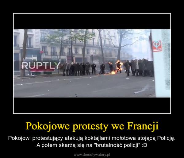 """Pokojowe protesty we Francji – Pokojowi protestujący atakują koktajlami mołotowa stojącą Policję. A potem skarżą się na """"brutalność policji"""" :D"""