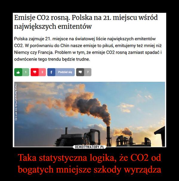 Taka statystyczna logika, że CO2 od bogatych mniejsze szkody wyrządza –