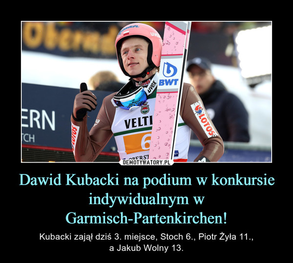 Dawid Kubacki na podium w konkursie indywidualnym w Garmisch-Partenkirchen! – Kubacki zajął dziś 3. miejsce, Stoch 6., Piotr Żyła 11.,a Jakub Wolny 13.