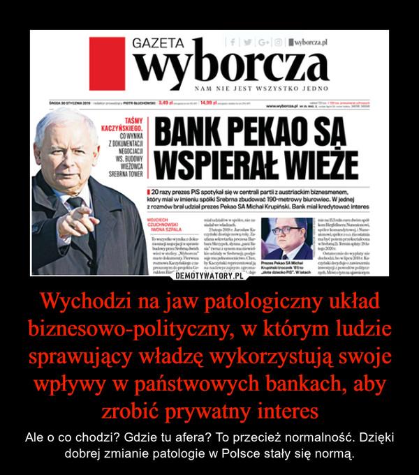 Wychodzi na jaw patologiczny układ biznesowo-polityczny, w którym ludzie sprawujący władzę wykorzystują swoje wpływy w państwowych bankach, aby zrobić prywatny interes – Ale o co chodzi? Gdzie tu afera? To przecież normalność. Dzięki dobrej zmianie patologie w Polsce stały się normą.
