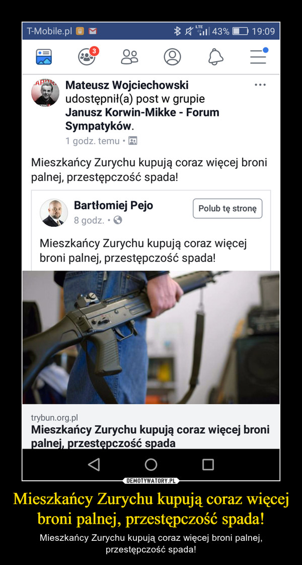 Mieszkańcy Zurychu kupują coraz więcej broni palnej, przestępczość spada! – Mieszkańcy Zurychu kupują coraz więcej broni palnej, przestępczość spada!