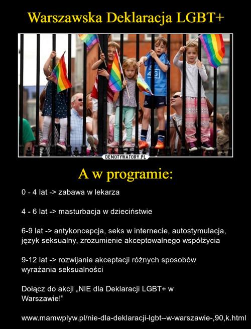 Warszawska Deklaracja LGBT+ A w programie: