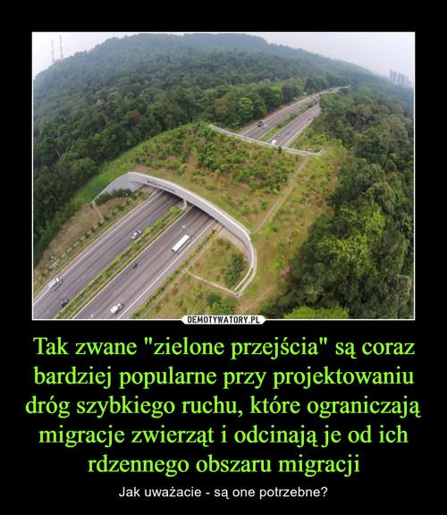 """Tak zwane """"zielone przejścia"""" są coraz bardziej popularne przy projektowaniu dróg szybkiego ruchu, które ograniczają migracje zwierząt i odcinają je od ich rdzennego obszaru migracji"""