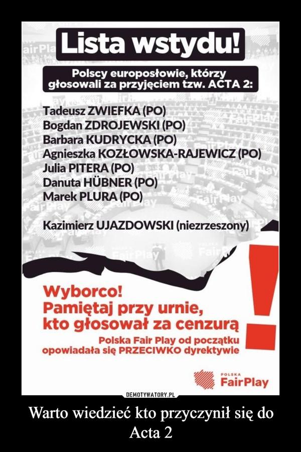 Warto wiedzieć kto przyczynił się do Acta 2 –
