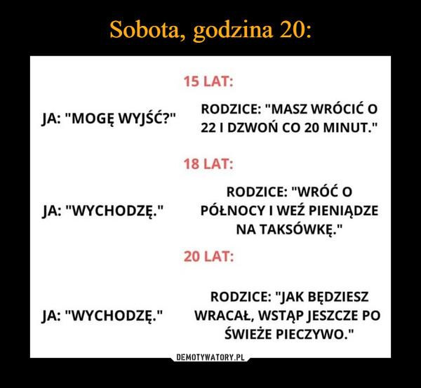 """–  15 LAT:RODZICE: """"MASZ WRÓCIĆ OJA: """"MOGĘ WYJŚć?""""22 I DZWON CO 20 MINUT.""""18 LAT:RODZICE: """"WRÓĆOPÓŁNOCY I WEź PIENIĄDZENA TAKSÓWKE.""""JA: """"WYCHODZĘ.""""20 LAT:RODZICE: """"JAK BĘDZIESZWRACAŁ, WSTAP JESZCZE POŚWIEŻE PIECZYWO.""""JA: """"WYCHODZĘ."""""""