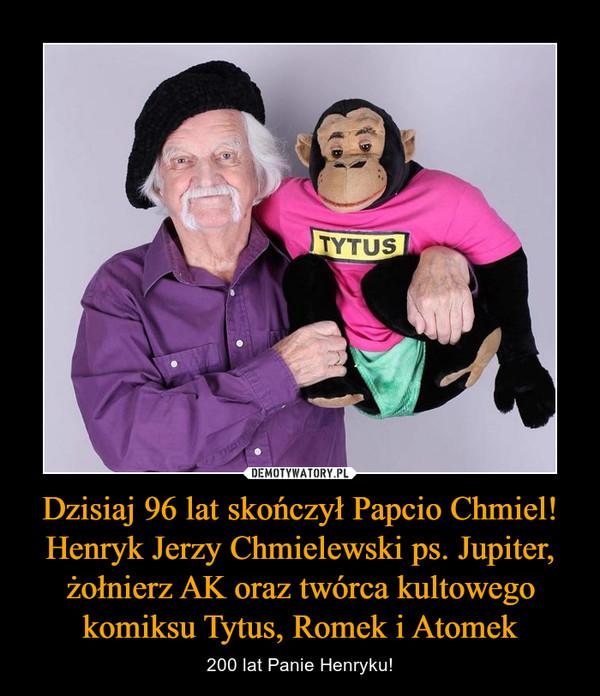 Dzisiaj 96 lat skończył Papcio Chmiel! Henryk Jerzy Chmielewski ps. Jupiter, żołnierz AK oraz twórca kultowego komiksu Tytus, Romek i Atomek – 200 lat Panie Henryku!
