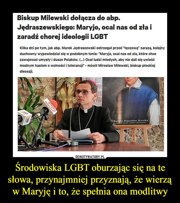 """Środowiska LGBT oburzając się na te słowa, przynajmniej przyznają, że wierzą w Maryję i to, że spełnia ona modlitwy –  Biskup Milewski dołącza do abp. Jędraszewskiego: Maryjo, ocal nas od zła i zaradź chorej ideologii LGBT Kilka dni po tym, jak abp. Marek Jędraszewski ostrzegał przed """"tęczową"""" zarazą, kolejny duchowny wypowiedział się w podobnym tonie: """"Maryjo, ocal nas od zla, które chce zawojować umysły i dusze Polaków. (...) Ocal ludzi młodych, aby nie dali się uwieść modnym hasłom o wolności i tolerancji"""" - mówił Mirosław Milewski, biskup płockiej diecezji."""