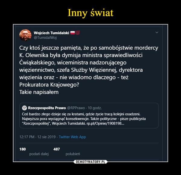 """–  Wojciech Tumidalski ™@TumidalWojCzy ktoś jeszcze pamięta, że po samobójstwie mordercyK. Olewnika była dymisja ministra sprawiedliwościĆwiąkalskiego, wiceministra nadzorującegowięziennictwo, szefa Służby Więziennej, dyrektorawięzienia oraz - nie wiadomo dlaczego - teżProkuratora Krajowego?Takie napisałem© Rzeczpospolita Prawo @RPPrawo • 10 godz.Coś bardzo złego dzieje się za kratami, gdzie życie tracą kolejni osadzeni.Najwyższa pora wyciągnąć konsekwenge. Także polityczne - pisze publicysta■Rzeczpospolitej"""", Wojciech Tumidalski."""