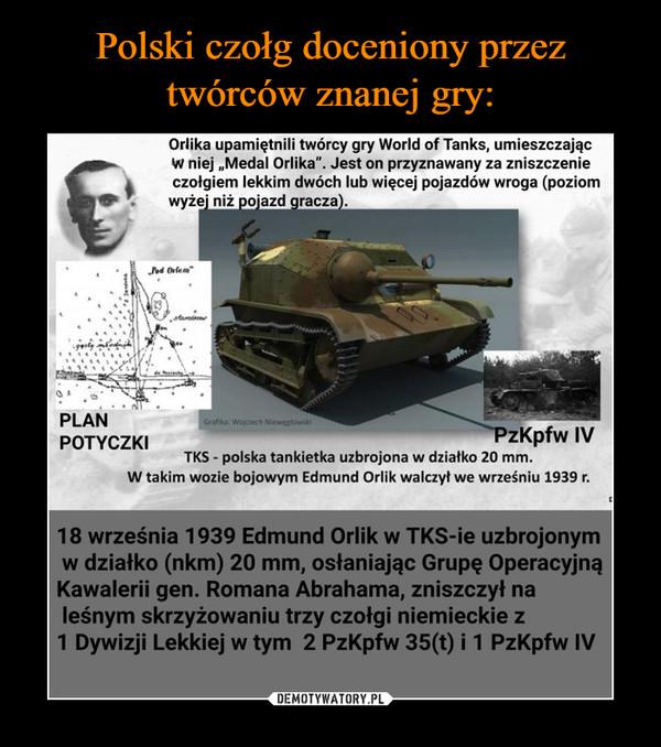 """–  Orlika upamiętnili twórcy gry World of Tanks, umieszczając W niej """"Medal Orlika"""". Jest on przyznawany za zniszczenie czołgiem lekkim dwóch lub więcej pojazdów wroga (poziom wyże' niż pojazd  gracza).  PLAN POTYCZKI zKpfw IV TKS - polska tankietka uzbrojona w działko 20 mm. W takim wozie bojowym Edmund Orlik walczył we wrześniu 1939 r. 18 września 1939 Edmund Orlik w TKS-ie uzbrojonym w działko (nkm) 20 mm, osłaniając Grupę Operacyjną Kawalerii gen. Romana Abrahama, zniszczył na leśnym skrzyżowaniu trzy czołgi niemieckie z 1 Dywizji Lekkiej w tym 2 PzKpfw 35(t) i 1 PzKpfw IV"""