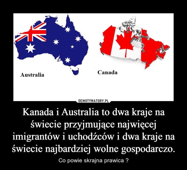 Kanada i Australia to dwa kraje na świecie przyjmujące najwięcej imigrantów i uchodźców i dwa kraje na świecie najbardziej wolne gospodarczo. – Co powie skrajna prawica ?