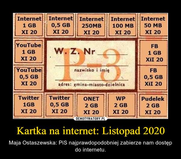 Kartka na internet: Listopad 2020 – Maja Ostaszewska: PiS najprawdopodobniej zabierze nam dostęp do internetu.