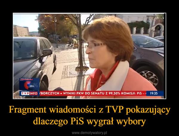 Fragment wiadomości z TVP pokazujący dlaczego PiS wygrał wybory –