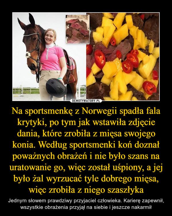 Na sportsmenkę z Norwegii spadła fala krytyki, po tym jak wstawiła zdjęcie dania, które zrobiła z mięsa swojego konia. Według sportsmenki koń doznał poważnych obrażeń i nie było szans na uratowanie go, więc został uśpiony, a jej było żal wyrzucać tyle dobrego mięsa, więc zrobiła z niego szaszłyka – Jednym słowem prawdziwy przyjaciel człowieka. Karierę zapewnił, wszystkie obrażenia przyjął na siebie i jeszcze nakarmił