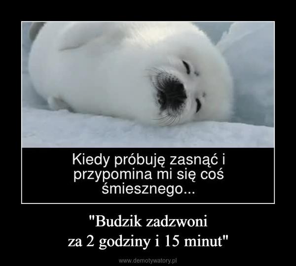 """""""Budzik zadzwoniza 2 godziny i 15 minut"""" –  Kiedy próbuję zasnąć iprzypomina mi się cośśmiesznego..."""