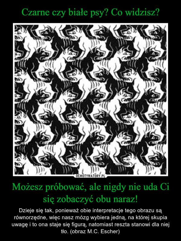 Możesz próbować, ale nigdy nie uda Ci się zobaczyć obu naraz! – Dzieje się tak, ponieważ obie interpretacje tego obrazu są równorzędne, więc nasz mózg wybiera jedną, na której skupia uwagę i to ona staje się figurą, natomiast reszta stanowi dla niej tło. (obraz M.C. Escher)