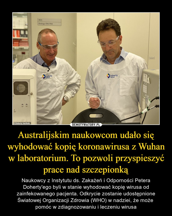 Australijskim naukowcom udało się wyhodować kopię koronawirusa z Wuhan w laboratorium. To pozwoli przyspieszyć prace nad szczepionką – Naukowcy z Instytutu ds. Zakażeń i Odporności Petera Doherty'ego byli w stanie wyhodować kopię wirusa od zainfekowanego pacjenta. Odkrycie zostanie udostępnione Światowej Organizacji Zdrowia (WHO) w nadziei, że może pomóc w zdiagnozowaniu i leczeniu wirusa