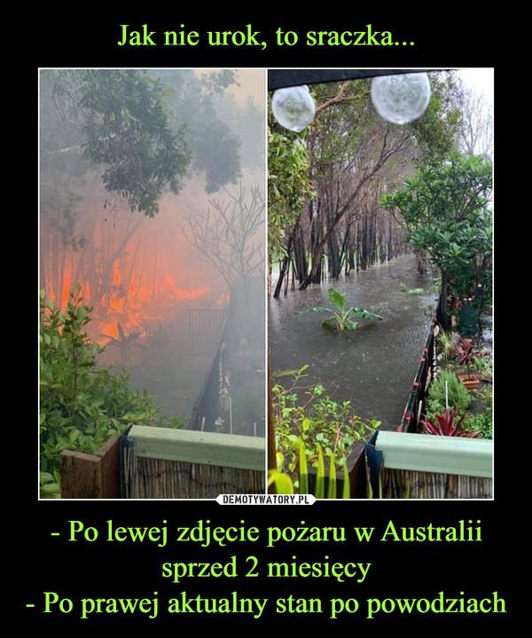 - Po lewej zdjęcie pożaru w Australii sprzed 2 miesięcy- Po prawej aktualny stan po powodziach –