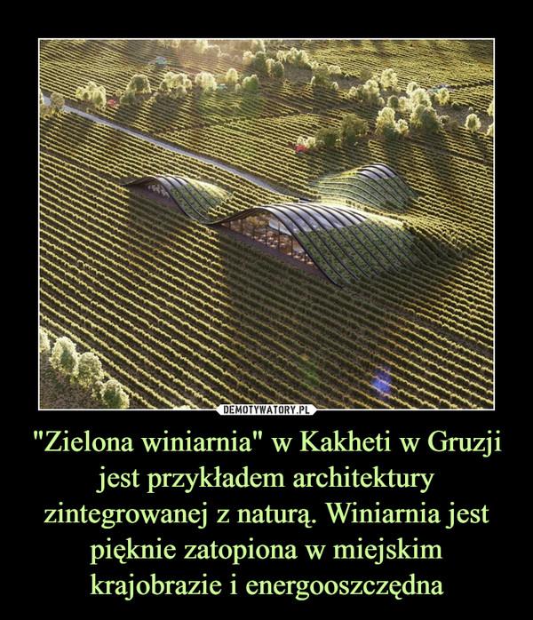 """""""Zielona winiarnia"""" w Kakheti w Gruzji jest przykładem architektury zintegrowanej z naturą. Winiarnia jest pięknie zatopiona w miejskim krajobrazie i energooszczędna –"""