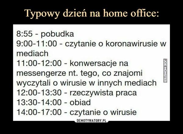 –  8:55 - pobudka9:00-11:00 - czytanie o koronawirusie wmediach11:00-12:00 - konwersacje na imessengerze nt. tego, co znajomi 1wyczytali o wirusie w innych mediach E12:00-13:30 - rzeczywista praca13:30-14:00 - obiad14:00-17:00 - czytanie o wirusie