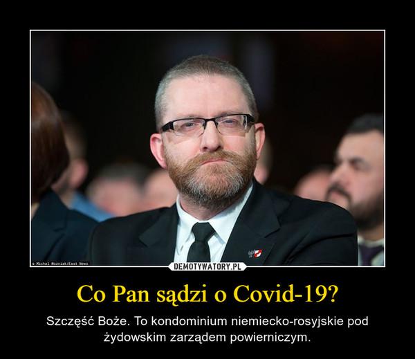 Co Pan sądzi o Covid-19? – Szczęść Boże. To kondominium niemiecko-rosyjskie pod żydowskim zarządem powierniczym.