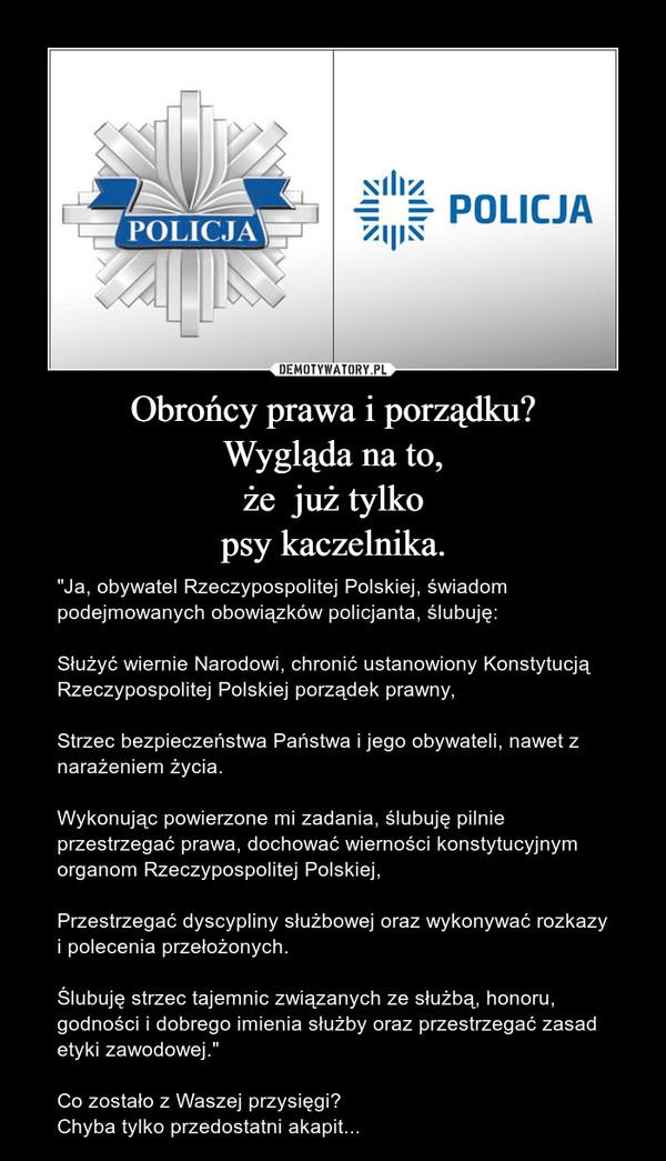 """Obrońcy prawa i porządku?Wygląda na to,że  już tylkopsy kaczelnika. – """"Ja, obywatel Rzeczypospolitej Polskiej, świadom podejmowanych obowiązków policjanta, ślubuję:Służyć wiernie Narodowi, chronić ustanowiony Konstytucją Rzeczypospolitej Polskiej porządek prawny,Strzec bezpieczeństwa Państwa i jego obywateli, nawet z narażeniem życia.Wykonując powierzone mi zadania, ślubuję pilnie przestrzegać prawa, dochować wierności konstytucyjnym organom Rzeczypospolitej Polskiej,Przestrzegać dyscypliny służbowej oraz wykonywać rozkazy i polecenia przełożonych.Ślubuję strzec tajemnic związanych ze służbą, honoru, godności i dobrego imienia służby oraz przestrzegać zasad etyki zawodowej.""""Co zostało z Waszej przysięgi?Chyba tylko przedostatni akapit..."""