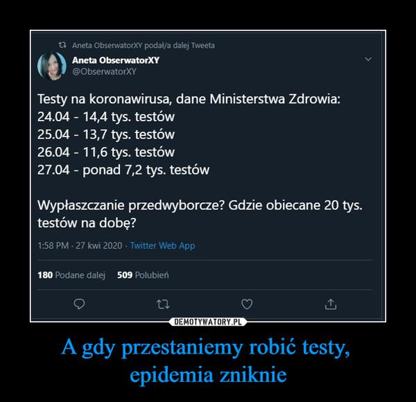 A gdy przestaniemy robić testy, epidemia zniknie –  Testy na koronawirusa, dane Ministerstwa Zdrowia 24.04 14,4 tys testów 25.04 13,7 tys testów 26.04 11,6 tys testów 27 ponad 7,2 tys testów Wypłaszczanie przedwyborcze? gdzie obiecane 20 tys testów na dobę?